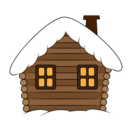 snow white: House with snow cartoon illustration. Winter snowy Christmas home, cottage isolated on white background.