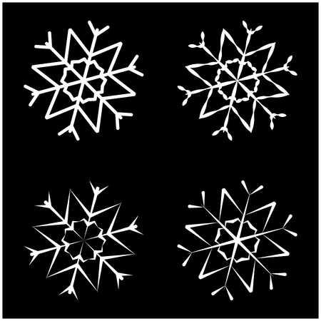 christmas pattern: Snowflake silhouette icon, symbol, design. Winter, christmas illustration isolated on the black background.