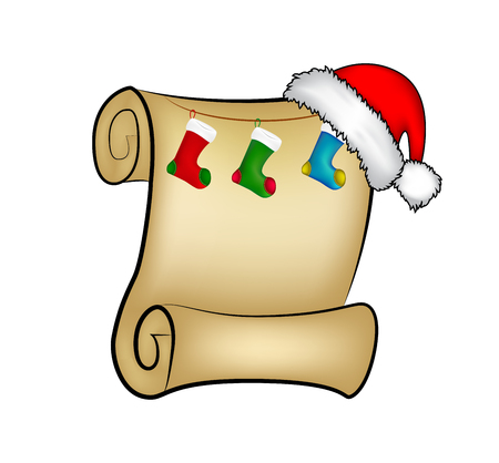 christmas socks: Christmas paper scroll card with santa cap,hat and christmas socks. vector illustration isolated on white background.