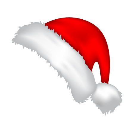 gorro: Casquillo de Santa, icono sombrero de Navidad, s�mbolo, dise�o. Invierno ilustraci�n vectorial aislados en fondo blanco.