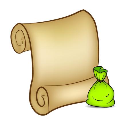 santa sack: Christmas paper scroll card with santa sack, bag. vector illustration isolated on white background. Illustration