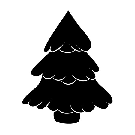 winter tree: Christmas tree silhouette, cartoon design for card,  icon, symbol. Winter vector illustration isolated on white background.