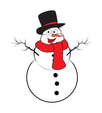snowman cartoon: Christmas snowman cartoon design for card. Winter icon, symbol vector illustration isolated on white background.