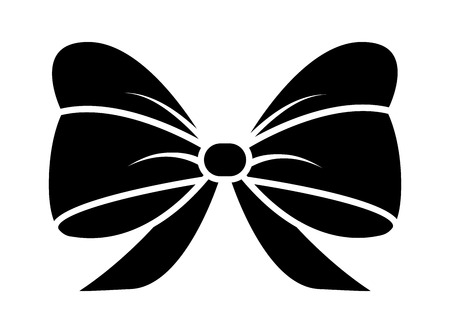 ribbon bow silhouette for christmas present symbol design. Vector illustration isolated on white background. Vectores