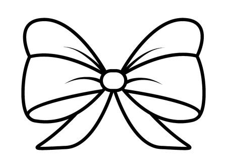 ribbon bow silhouette for christmas present symbol design. Vector illustration isolated on white background. Illustration
