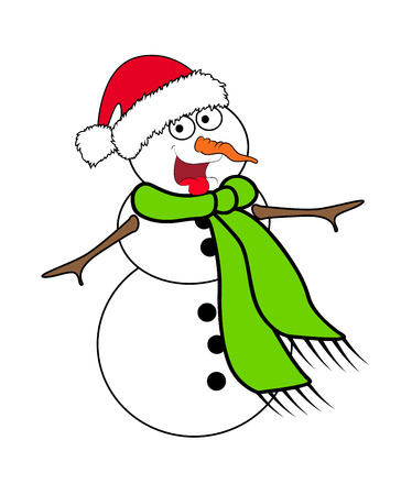 isolated: Christmas snowman cartoon design for card. Winter icon, symbol vector illustration isolated on white background.
