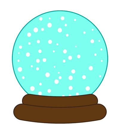 glass dome: Christmas snowglobe cartoon design, icon, symbol for card. Winter transparent glass ball with the falling snow.  Vector illustration isolated on white background. Illustration