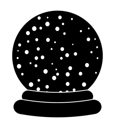 snowglobe: Christmas snowglobe cartoon design, icon, symbol for card. Winter transparent glass ball with the falling snow.  Vector illustration isolated on white background. Illustration