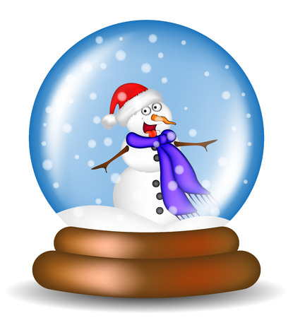 snowglobe: Christmas snowglobe with snowman cartoon design, icon, symbol for card. Winter transparent glass ball with the falling snow.  Vector illustration isolated on white background. Illustration