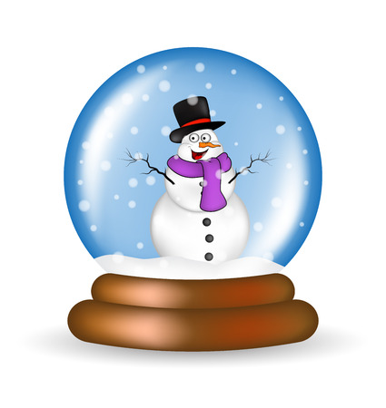 snowman cartoon: Christmas snowglobe with snowman cartoon design, icon, symbol for card. Winter transparent glass ball with the falling snow.  Vector illustration isolated on white background. Illustration