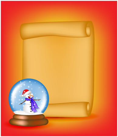 snowglobe: Christmas paper scroll card with snowglobe. Vector illustration isolated on white background.