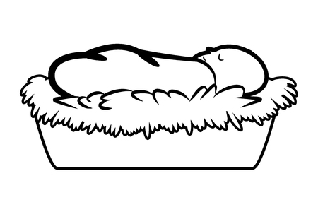 manger: Christmas jesus manger vector outline symbol, icon  design. illustration isolated on white background. Illustration