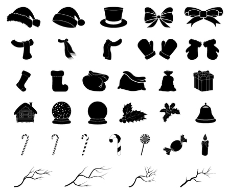 Christmas vector symbol silhouette set, icon  design. Winter illustration isolated on white background.