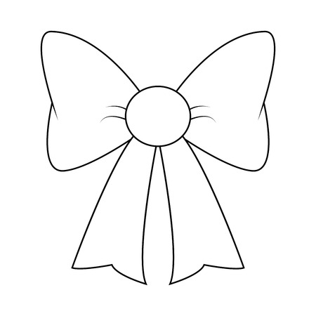 ribbon bow silhouette for christmas present symbol design. Vector illustration isolated on white background.  イラスト・ベクター素材