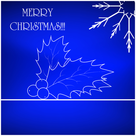 blue berry: Christmas vector card, background with snowflake and holly berry. Blue Beautiful illustration wallpaper.