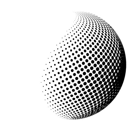halftone globe, sphere vector logo symbol, icon, design. abstract dotted globe illustration isolated on white background.; Ilustração