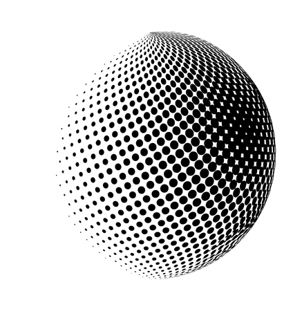 halftone globe, sphere vector logo symbol, icon, design. abstract dotted globe illustration isolated on white background.; Иллюстрация