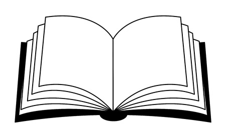 Libro aperto vettore clipart silhouette, simbolo, icona del design. Illustrazione isolato su sfondo bianco. Vettoriali