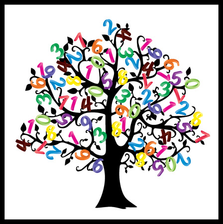 Math tree. Digits illustration isolated on white background. 스톡 콘텐츠