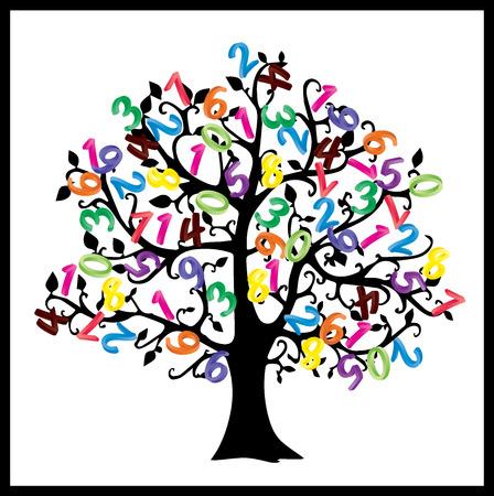 Math tree. Digits illustration isolated on white background. Stock Photo