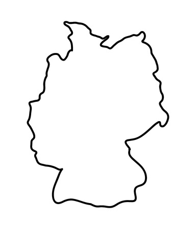 Germany map vector symbol icon  design. silhouette illustration isolated on white background.