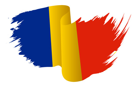 Romania flag vector symbol icon  design. Romanian flag color illustration isolated on white background. Stok Fotoğraf - 53511377