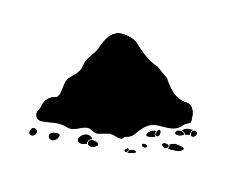 Pile of ground, heap of soil - vector silhouette illustration isolated on white background.