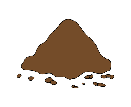 heap: Pile of ground, heap of soil - vector illustration isolated on white background.