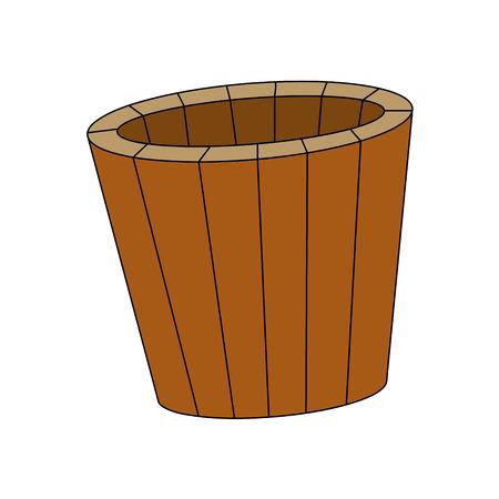 cartoon wood bucket: sauna bucket, symbol , icon  design. illustration isolated on white background.