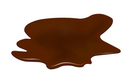 Pozza di cioccolato, fango fuoriuscita clipart. Macchia marrone, plash, goccia. Illustrazione vettoriale isolato su sfondo bianco