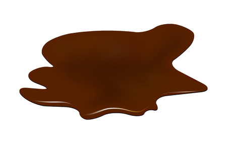 choco: Puddle of chocolate, mud spill clipart. Brown stain, plash, drop. Vector illustration isolated on the white background