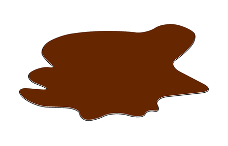 mire: Puddle of chocolate, mud spill clipart. Brown stain, plash, drop. Vector illustration isolated on the white background