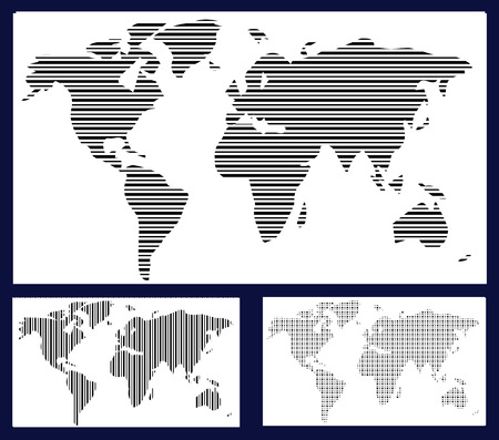 striped wallpaper: World map in stripes, bars - abstract background.  Black and white silhouette illustration Stock Photo