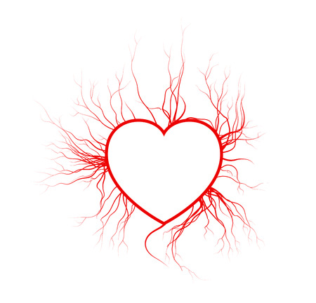 human veins with heart, red love blood vessels valentine design. Vector illustration isolated on white background Ilustracja