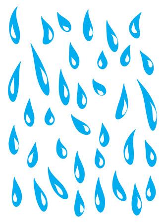 pluie bleue, les larmes tombant vers le bas de la conception d'icône de vecteur symbole. Belle illustration ensemble isolé sur fond blanc