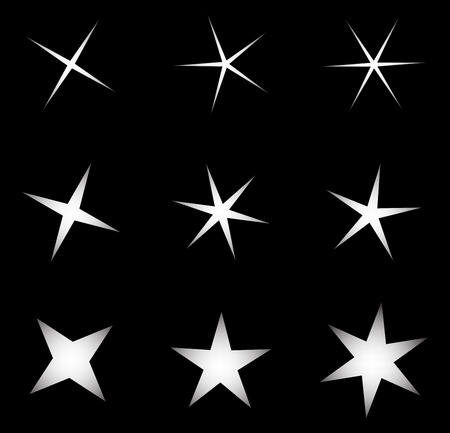 sheen: transparent star vector symbol icon design. Beautiful illustration of glowing light effect stars bursts with sparkles on transparent background Illustration