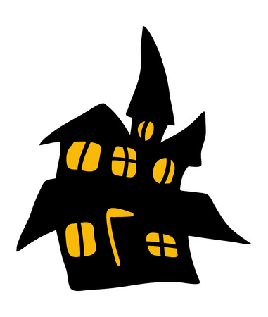 halloween creepy scary hounted house, vector symbol icon design. Beautiful illustration isolated on white background Illustration