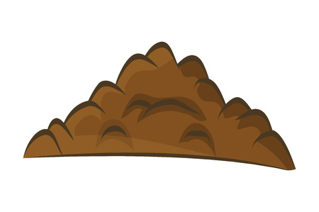 Pile of ground, heap of soil - vector illustration isolated on white background.