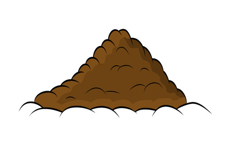 humus: Pile of ground, heap of soil - vector illustration isolated on white background.