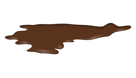 muck: Puddle of chocolate, mud spill clipart. Brown stain, plash, drop.