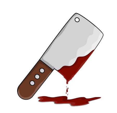 meat chopper: kitchen butcher chopper  with blood vector symbol