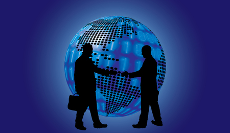 sphere standing: shake hand digital globe background beautiful banner wallpaper design illustration