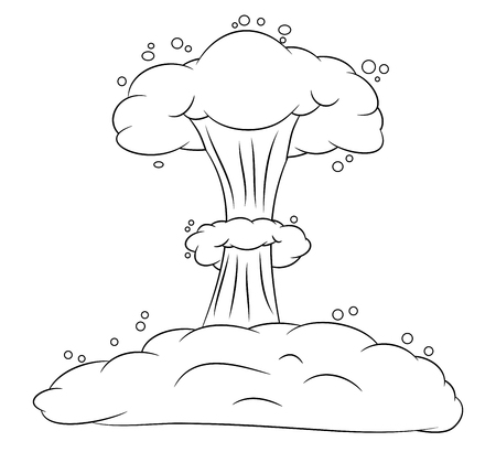 vector nuclear: mushroom cloud, nuclear explosion silhouette,  vector symbol icon design. Beautiful illustration isolated on white background Illustration