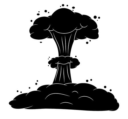 nuke: mushroom cloud, nuclear explosion silhouette,  vector symbol icon design. Beautiful illustration isolated on white background Illustration