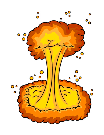 mushroom cloud, nuclear explosion,  vector symbol icon design. Beautiful illustration isolated on white background Illustration