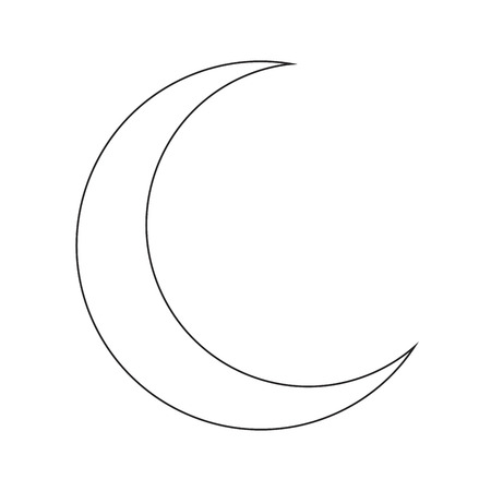 crescent: crescent moon silhouette vector symbol icon design. Beautiful illustration isolated on white background Illustration