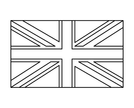 英国旗、イギリス シンボル アウトライン ベクトル シンボル アイコン デザインです。白い背景に分離された美しいイラスト