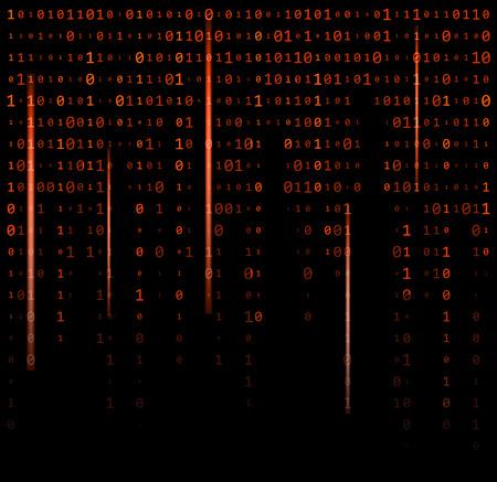 binary code zero one matrix red background beautiful banner wallpaper design illustration