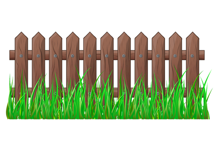 Wooden Fence with grass isolated vector symbol icon design. Beautiful illustration isolated on white background Illustration