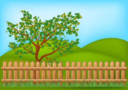 Wooden Fence with grass and tree landscape vector symbol icon design.  Beautiful illustration isolated on white background Illustration